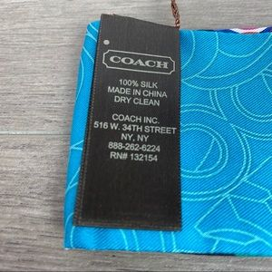 Coach Accessories - Coach Silk Sequined Blue Op Art Ponytail Scarf NWT